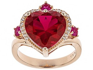 Elle Cross Red Created Ruby 5.62ctw 18k rose gold over silver ring Size 9