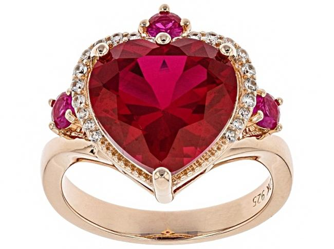 Item - Red Created Ruby 5.62ctw 18k Rose Over Silver Size 9 Ring