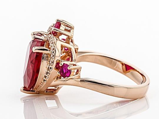 Elle Cross Red Created Ruby 5.62ctw 18k rose gold over silver ring Size 9 Image 1