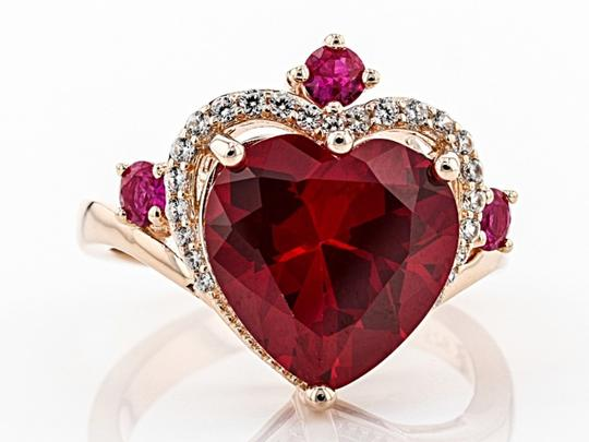 Elle Cross Red Created Ruby 5.62ctw 18k rose gold over silver ring Size 9 Image 2
