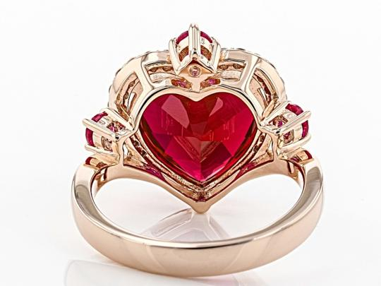 Elle Cross Red Created Ruby 5.62ctw 18k rose gold over silver ring Size 9 Image 3