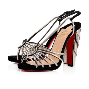 Christian Louboutin Stiletto Ankle Strap Jeanarlow Chain Crystal black Pumps