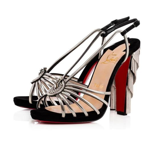 Christian Louboutin Stiletto Ankle Strap Jeanarlow Chain Crystal black Pumps Image 0