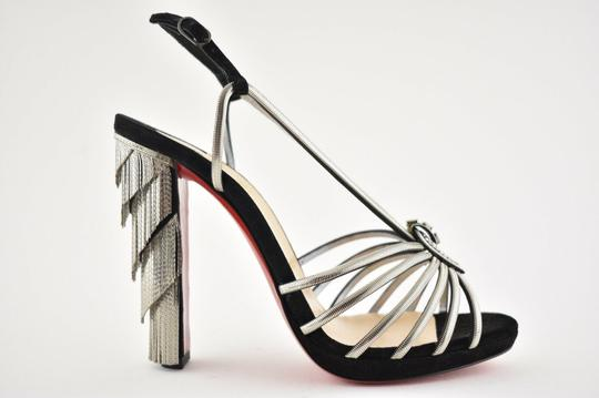 Christian Louboutin Stiletto Ankle Strap Jeanarlow Chain Crystal black Pumps Image 1