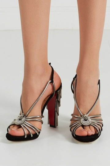 Christian Louboutin Stiletto Ankle Strap Jeanarlow Chain Crystal black Pumps Image 4