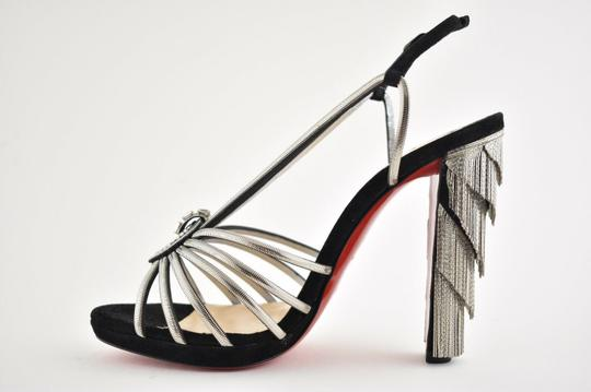 Christian Louboutin Stiletto Ankle Strap Jeanarlow Chain Crystal black Pumps Image 8