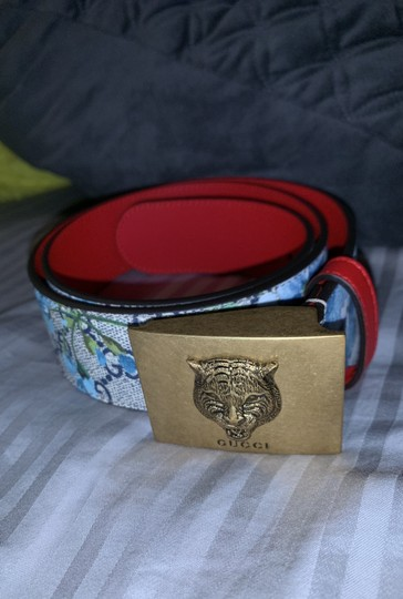 Gucci Gucci gg blue blooms flower belt size small Image 2