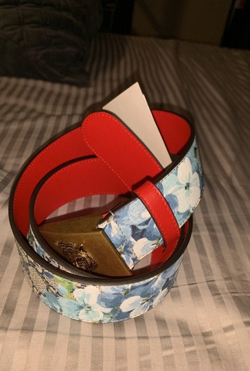 Gucci Gucci gg blue blooms flower belt size small Image 7