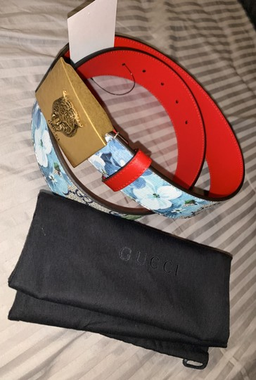 Gucci Gucci gg blue blooms flower belt size small Image 9