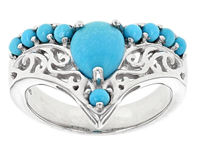 Item - Blue Sleeping Beauty Turquoise Sterling Silver Chevron Size 8 Ring