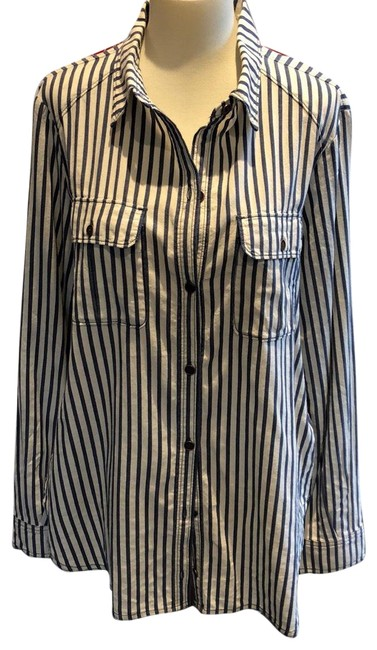 Item - Blue and White Cotton Blue/White Stripe Western Cut Button-down Top Size 12 (L)
