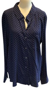 Soft Joie Button Down Shirt navy and white