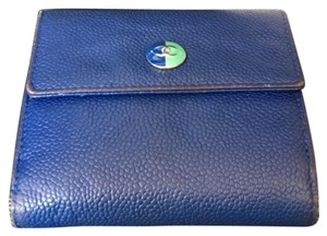 Chanel Blue and emerald caviar flap wallet