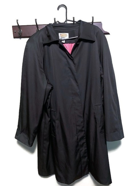 Preload https://img-static.tradesy.com/item/26041198/talbots-black-women-s-long-dress-raincoat-condition-is-pre-owned-shipped-with-usps-priority-mail-coa-0-0-650-650.jpg
