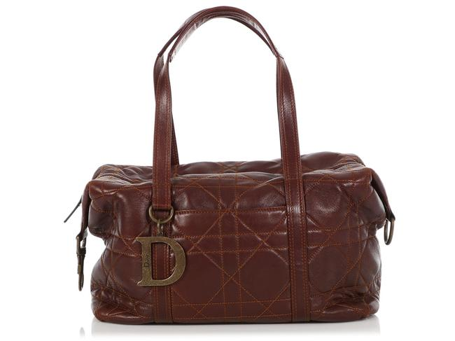Item - Cannage Quilted Brown Lambskin Leather Satchel