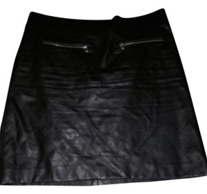 Ann Taylor Faux Leather Work. Casual Stylish Quilted Chanel Style Leather Short Caual Work Mini Skirt Black