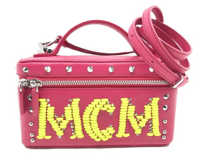 MCM Cosmetic Case Rockstar Vanity Case Neon Studded Limited Edition Pink Leather Cross Body Bag MCM Cosmetic Case Rockstar Vanity Case Neon Studded Limited Edition Pink Leather Cross Body Bag Image 1