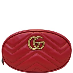 Gucci GUCCI GG MARMONT MATELASSE LEATHER BELT BAG 476434 RED