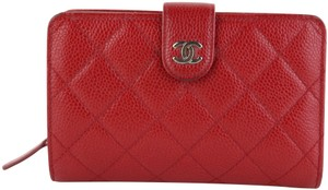 Chanel Chanel Red Caviar Snap Wallet