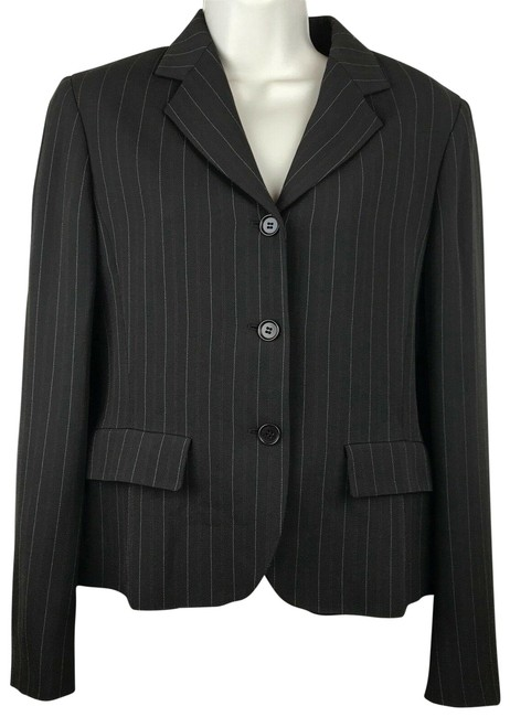 Item - Brown Red & White Pinstripped Blazer Size 8 (M)