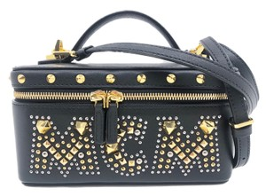 MCM Studded Leather Vanity Case 24k Gold Plated Cross Body Bag