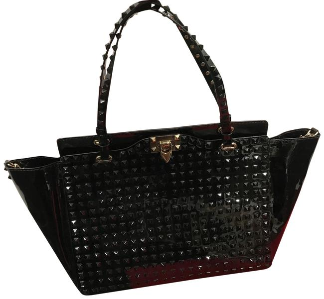 Item - Studded Black Patent Leather Tote