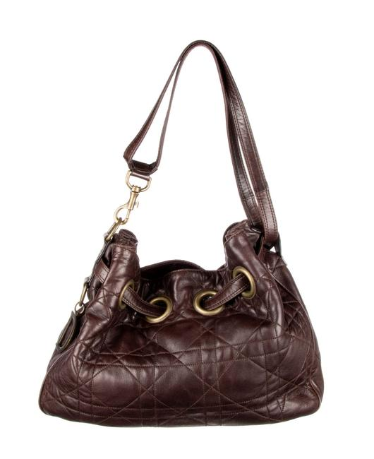 Item - Cannage Brown Lambskin Leather Satchel