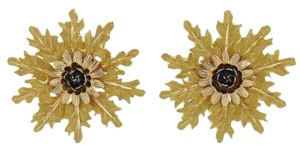 BUCCELLATI Large Flower Textured Designer Clip On Earrings