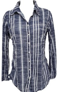 David Cline Crushed Water Snap Front Burnout Top Blue and White