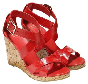 Cole Haan Cork Leather Fall Comfortable Fiery Red Wedges