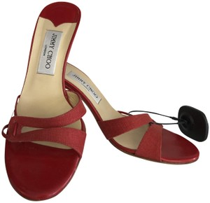 Jimmy Choo Linen Leather Italy Red Sandals