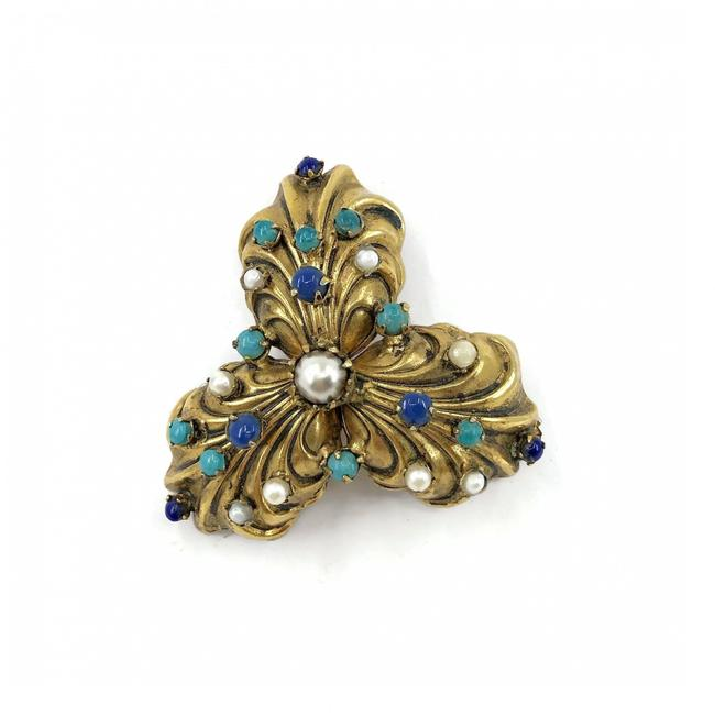 Item - Lapis Turquoise & Pearl Vintage 1930's Trefoil Gold Plated Brooch