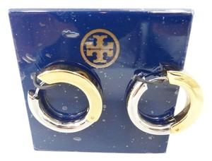 Tory Burch Tory Burch Sculpted Metal Hoop Earrings Gold Silver NEW WITH TAGS