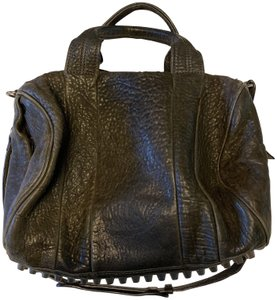 Alexander Wang Studded Leather Pebbled Leather Crossbody Tote in Black