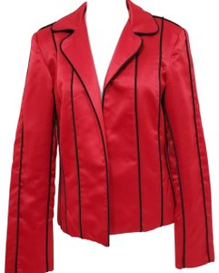 MSK Satin Piping Lined Red and Black Blazer