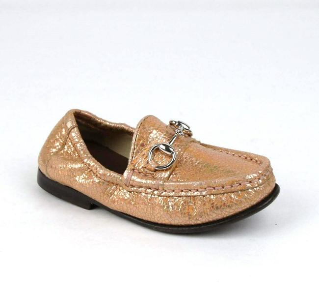 Item - Salmon Pink Horsebit Crackled Metallic Leather Loafer 24/Us 8 340742 5702 Shoes