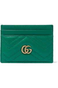Gucci Green Marmont Gg Quilted Leather Cardholder Wallet