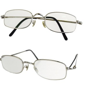 Cartier Authentic Cartier Trinity Glasses Eye Wear Plastic Metal Silver Italy