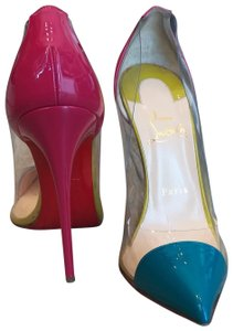 Christian Louboutin Patent Leather Pvc Pink, Blue, Green, Multi Pumps