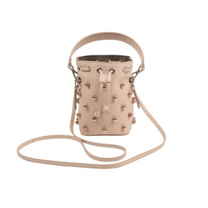 Fendi Leather Pearl Rose Gold Silver Hardware Suede Cross Body Bag