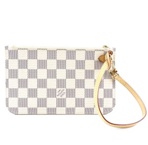 Louis Vuitton Damier Pochette Neverfull Canvas white grey Clutch