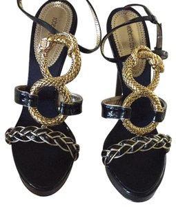Roberto Cavalli Black And Gold Sandals