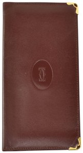 """Cartier Leather & """"Double C"""" Logo Folding Checkbook Cover / (nq)"""