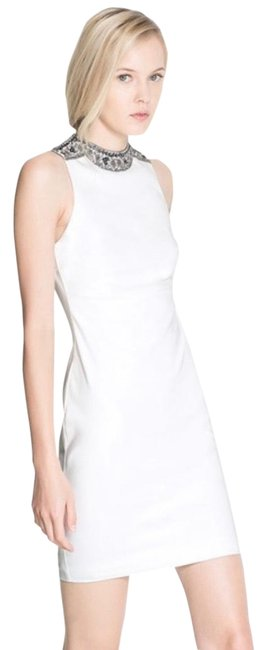Zara White Embellished Collar Neck Sheath Sleeveless Bride Bridal Short Cocktail Dress Size 4 (S) Zara White Embellished Collar Neck Sheath Sleeveless Bride Bridal Short Cocktail Dress Size 4 (S) Image 1