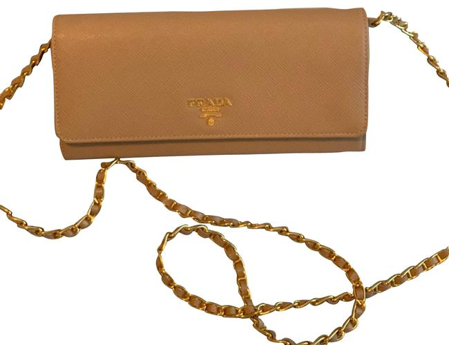 Item - Wallet on Chain Nude Leather Clutch