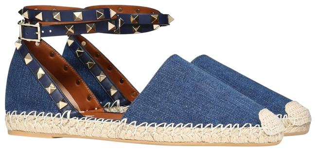 Item - Blue Rockstud Denim Jean Stud Wrap Around Ankle Strap Espadrille Flats Size EU 40 (Approx. US 10) Regular (M, B)