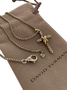 David Yurman David Yurman Petite Gold and Silver X 14k Yellow Cross Pendant Two-toned Necklace with Chain
