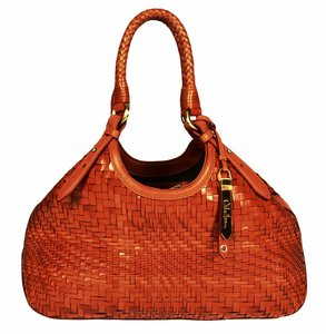 Cole Haan Genevieve Woven Leather Small Tote in Orange
