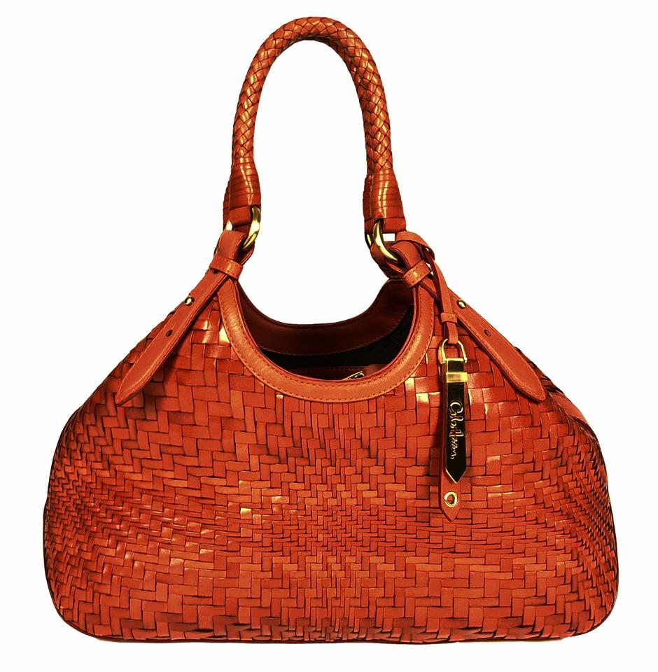 Cole Haan Bag Genevieve Woven Triangle Small Orange Leather Tote