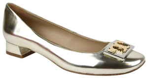 Tory Burch Light Gold Metallic Leather Gigi Pump Red Flats